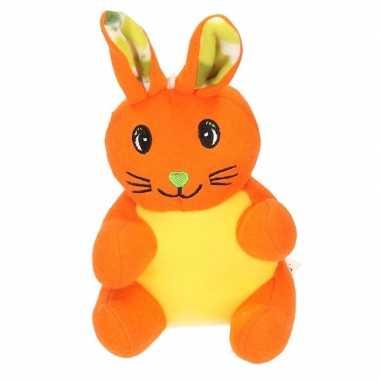 Baby pluche konijn/paashaas knuffel oranje
