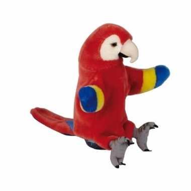Baby pluche rode ara/papegaaien handpop cm knuffel