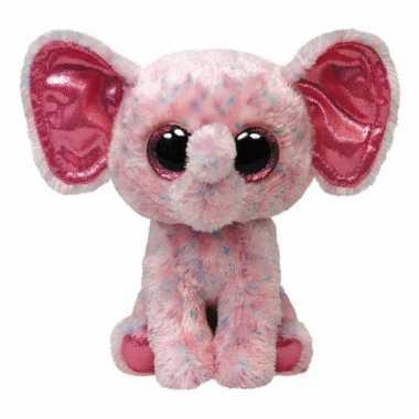Baby  Pluche roze Ty Beanie olifant knuffel