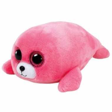 Baby pluche roze zeehond knuffel ty beanie cm