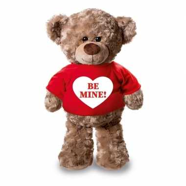 Baby romantisch cadeau be mine hartje knuffel beer rood shirt