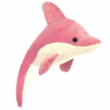 Baby speelgoed dolfijn knuffel roze/wit
