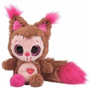Baby speelgoed eekhoorn knuffel bruin/roze