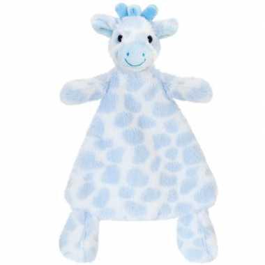 Baby speelgoed knuffeldoekje girafje blauw