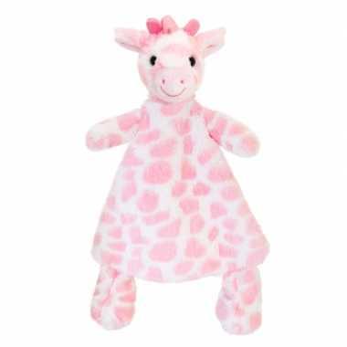 Baby speelgoed knuffeldoekje girafje roze