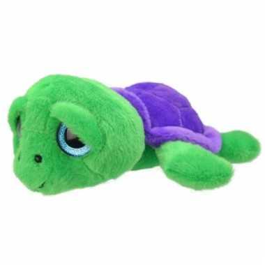 Baby speelgoed schildpad knuffel groen/paars