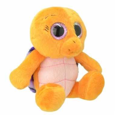 Baby speelgoed schildpad knuffel oranje/paars
