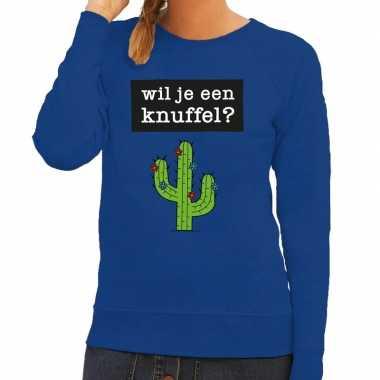 Baby toppers wil je een knuffel tekst sweater blauw dames