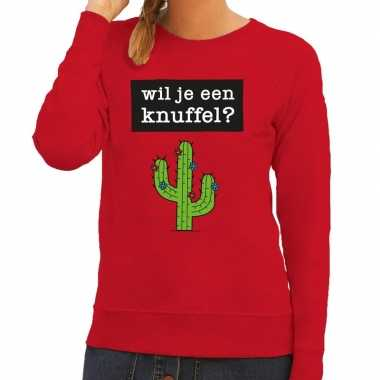 Baby toppers wil je een knuffel tekst sweater rood dames
