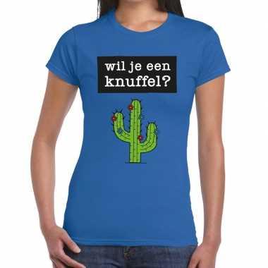 Baby toppers wil je een knuffel tekst t-shirt blauw dames