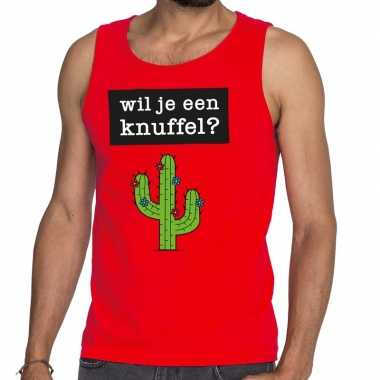 Baby toppers wil je een knuffel tekst tanktop / mouwloos shirt rood