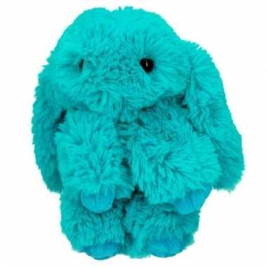 Baby turquoise topmodel konijntje turquoise aan hanger knuffel