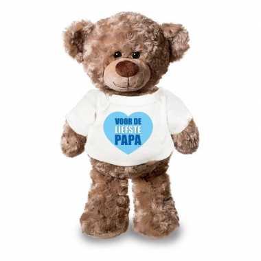 Baby vaderdagcadeau liefste papa hartje knuffel beer wit shirt