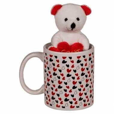 Baby valentijn cadeau witte beker beertje knuffel