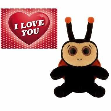 Baby valentijn valentijns cadeau lieveheersbeestje knuffel valentijns