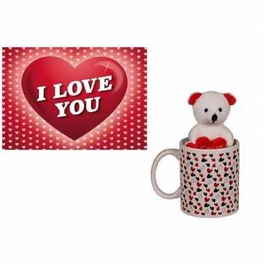 Baby valentijn valentijnscadeau beker knuffelbeer valentijnskaart