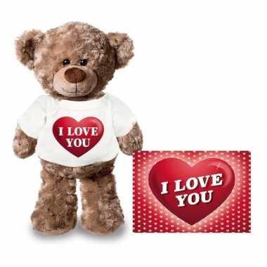 Baby valentijn valentijnskaart knuffelbeer i love you hartje shirt