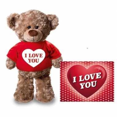 Baby valentijn valentijnskaart knuffelbeer i love you rood shirt