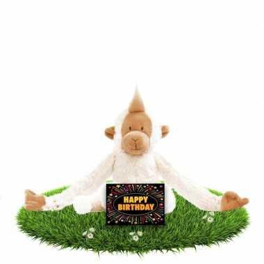 Baby verjaardag knuffel aapje gratis verjaardagskaart