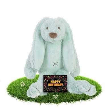 Baby verjaardag knuffel konijn gratis verjaardagskaart