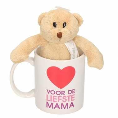 Baby voor liefste mama mok / beker knuffelbeer moederdag
