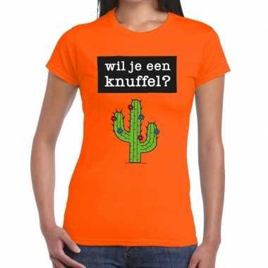 Baby wil je een knuffel tekst t-shirt oranje dames