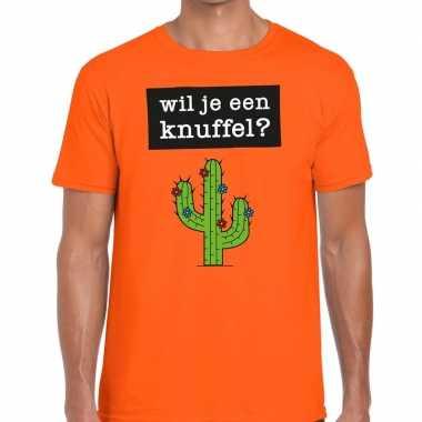 Baby wil je een knuffel tekst t-shirt oranje heren