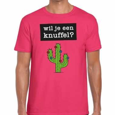 Baby wil je een knuffel tekst t shirt roze heren