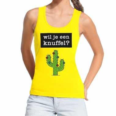 Baby wil je een knuffel tekst tanktop / mouwloos shirt geel dames