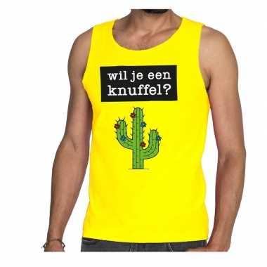 Baby wil je een knuffel tekst tanktop / mouwloos shirt geel heren