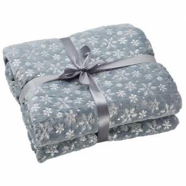 Baby woondecoratie fleece deken/kleed grijs sneeuwvlokken knuffel
