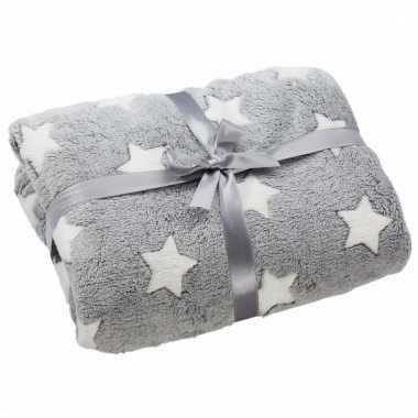 Fleece Deken Baby.Baby Woondecoratie Fleece Deken Kleed Grijs Sterren Knuffel Baby