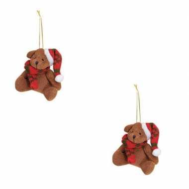 Baby x kersthangers knuffelbeertjes bruin rode sjaal muts