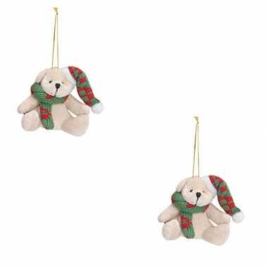 Baby x kersthangers knuffelbeertjes wit groene sjaal muts