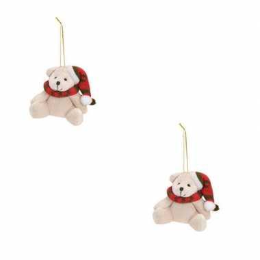 Baby x kersthangers knuffelbeertjes wit rode sjaal muts