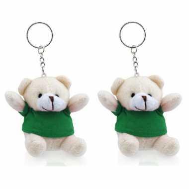 Baby x stuks sleutelhangers beer groen knuffel