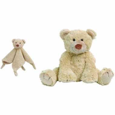 Happy horse beige beren baby knuffeltje knuffeldoekje boogy jongens/