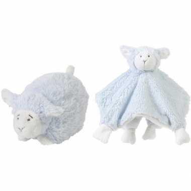 Happy horse blauwe schaap/lam liggend baby knuffeltje knuffeldoekje