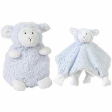 Happy horse blauwe schaap/lam zittend baby knuffeltje knuffeldoekje