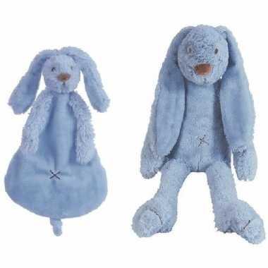Happy horse donker blauw konijnen baby knuffeltje knuffeldoekje rich