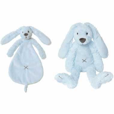 Happy horse licht blauwe konijnen baby knuffeltje knuffeldoekje rich