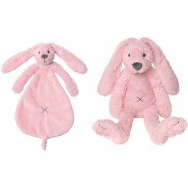 Happy horse roze konijnen baby knuffeltje knuffeldoekje richie jonge