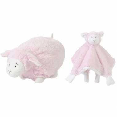 Happy horse roze schaap/lam liggend baby knuffeltje knuffeldoekje me