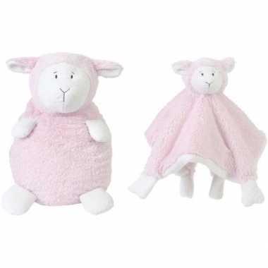 Happy horse roze schaap/lam zittend baby knuffeltje knuffeldoekje me