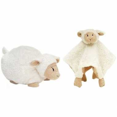 Happy horse witte schaap/lam liggend baby knuffeltje knuffeldoekje j