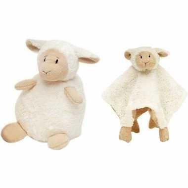 Happy horse witte schaap/lam zittend baby knuffeltje cm knuffeldoekj