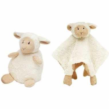 Happy horse witte schaap/lam zittend baby knuffeltje knuffeldoekje j