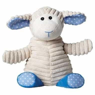 Warm knuffel schaap blauw babyshower kado