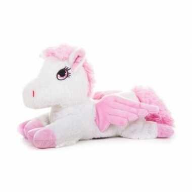 Warm knuffel wit paard vleugels babyshower kado