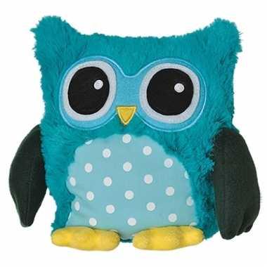 Warmte knuffel blauwe uil babyshower kado